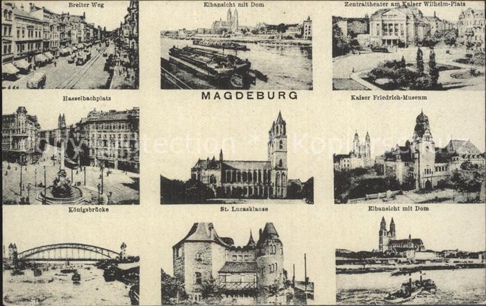 Magdeburg Breiter Weg Hasselbachplatz Koenigsbruecke Lucasklause Zentraltheater Kat. Magdeburg