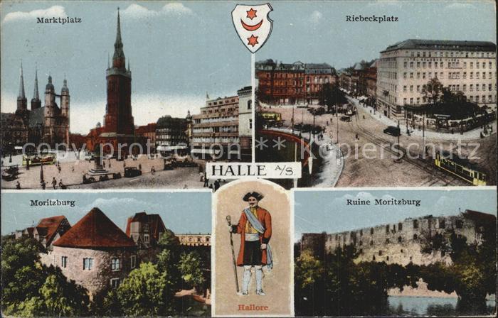 Halle Saale Marktplatz Riebeckplatz Moritzburg Ruine Moritzburg Hallore Kat. Halle