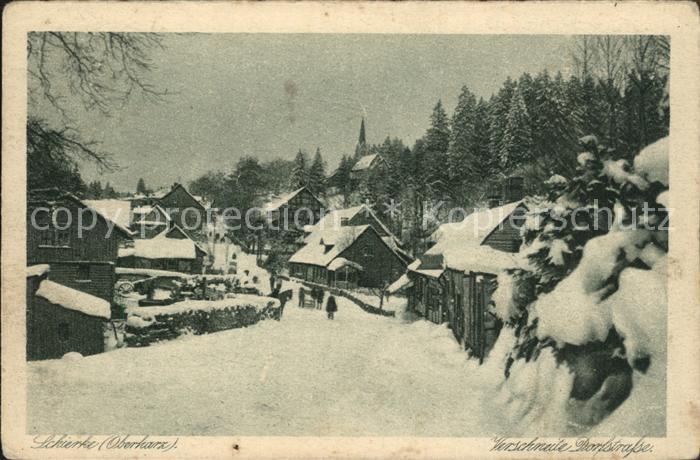 Schierke Harz Verschneite Dorfstrasse Kat. Schierke Brocken