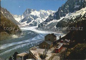 Chamonix Mont Blanc La Gare du Montenvers la Mer de Glacier et les Grandes Jorasse Kat. Chamonix Mont Blanc