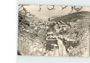 Schwarzenberg Erzgebirge Teilansicht im Winter Kat. Schwarzenberg