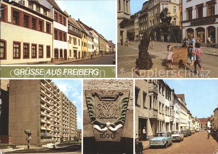 Freiberg Sachsen August Bebel Strasse Meissner Gasse  Kat. Freiberg