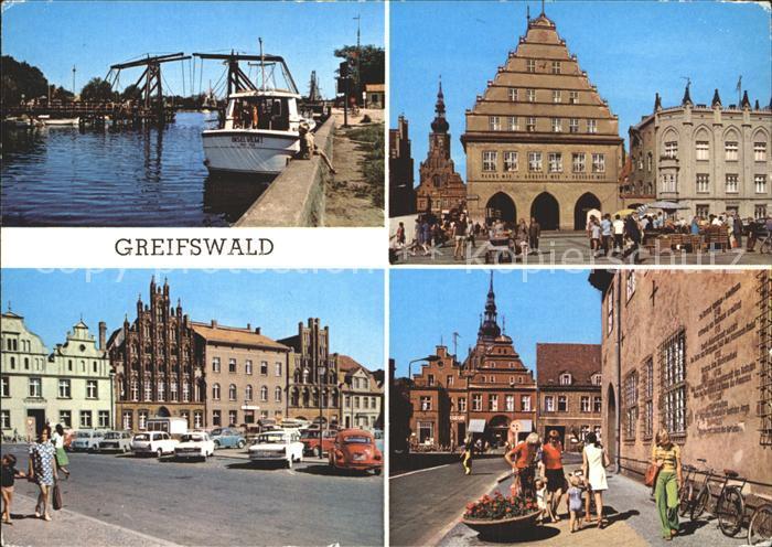 Greifswald Mecklenburg Vorpommern Wiecker Bruecke Rathaus Platz der Freundschaft Markt Kat. Greifswald