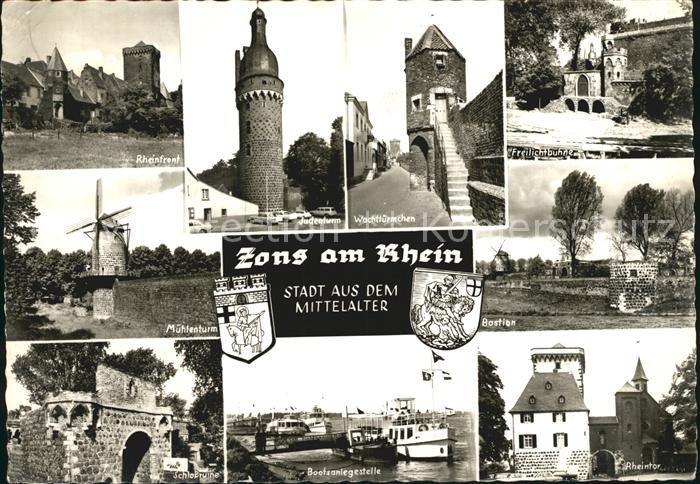 Zons Wachttuermchen Rheinpartie Muehlenturm Bastien Rheintor Kat. Dormagen