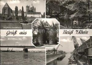 Neuss Zeughaus Muenster Rheinbruecke Hafen Stadtpark Kat. Neuss