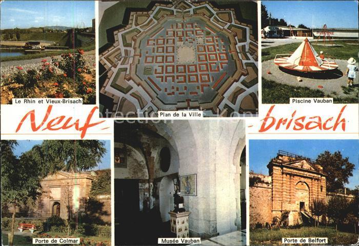 Neuf Brisach Plan Ville Piscine Vauban Musee Vauban Porte Colmar Belfort Kat. Neuf Brisach
