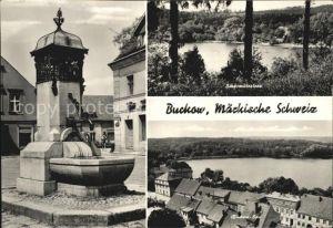 Buckow Maerkische Schweiz Scharmuetzelsee Brunnen Ortsansicht Kat. Buckow Maerkische Schweiz