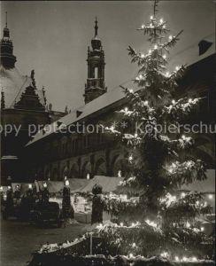 Dresden Striezelmarkt Stallhof Turm Katholische Hofkirche Nachtaufnahme Kat. Dresden Elbe