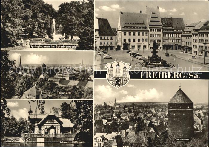 Freiberg Sachsen Obermarkt Scheringerpark Donatsturm Kat. Freiberg