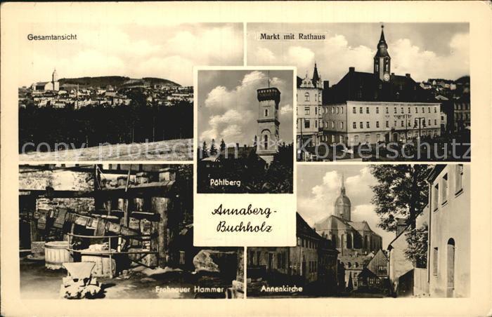Annaberg Buchholz Erzgebirge Markt Rathaus Poehlberg Annenkirche  Kat. Annaberg
