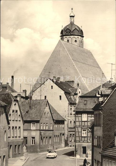 Neustadt Sachsen Strassenpartie mit Kirche Kat. Neustadt Sachsen