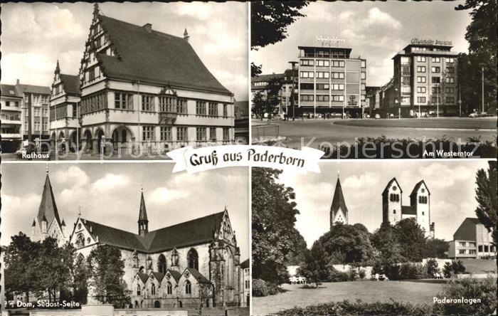 Paderborn Am Wesertor Paderanlagen Rathaus Dom Suedost Teil Kat. Paderborn