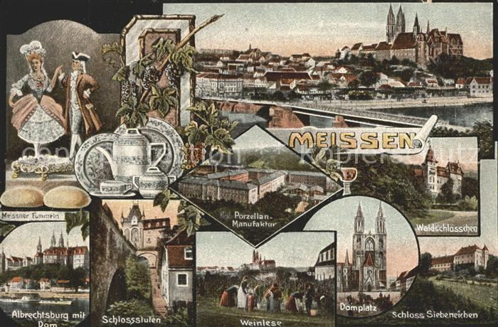 Meissen Elbe Sachsen Burgberg Albrechtsburg Dom Weinlese Domplatz Schloss Siebeneichen Waldschloesschen Porzellan Manufaktur Kat. Meissen