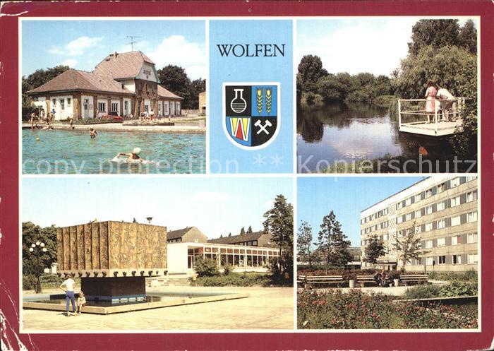 Wolfen Bitterfeld  Freibad Gondelteich Fuhneaue Springbrunnen Strasse der Republik Wolfen Nord Kat. Bitterfeld