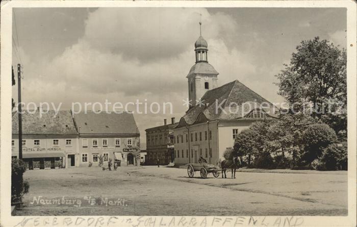 Naumburg Queis Nowogrodziec Stadtplatz Kirche Pferdekutsche  / Polen /