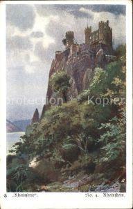 Burg Rheinstein Rheinserie Kuenstlerkarte / Trechtingshausen /Mainz-Bingen LKR