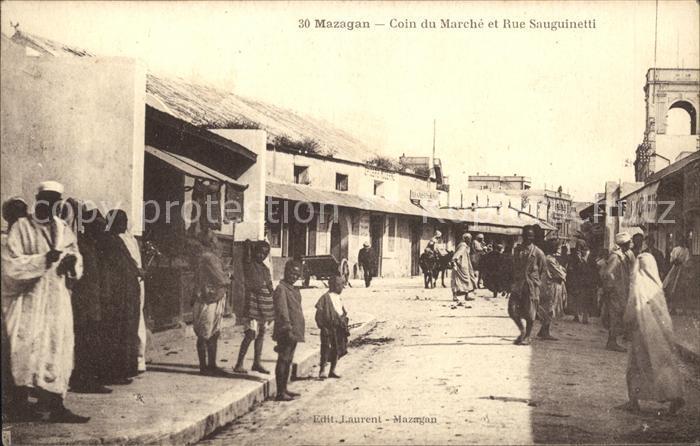 Mazagan Coin du Marche et Rue Sauguinetti / Marokko /