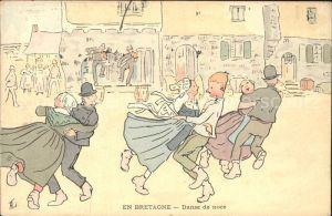 Bretagne Region Danse de noce Hochzeitstanz Kuenstlerkarte / Rennes /Arrond. de Rennes