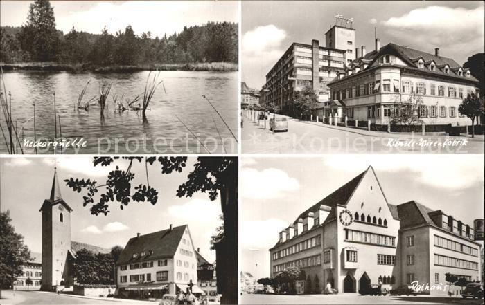 Schwenningen Neckar Neckarquelle Kienzle Uhrenfabrik Rathaus Kirche / Villingen-Schwenningen /Schwarzwald-Baar-Kreis LKR