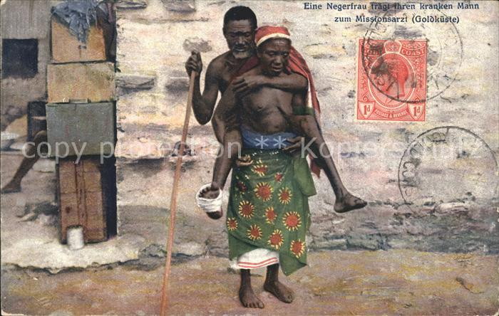 Afrika Africa Afrique Volksleben Typen Negerfrau traegt ihren kranken Mann / Niger /