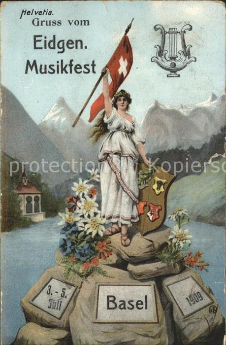 Basel BS Eidgenoessisches Musikfest 3 bis 5 Juli 1909 / Basel /Bz. Basel Stadt City