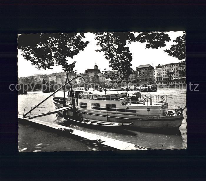 Basel BS Partie am Rhein Boot Anleger Mittlere Rheinbruecke Kat. Basel