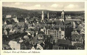 Stuttgart Blick auf Rathaus und Stiftskirche Kat. Stuttgart