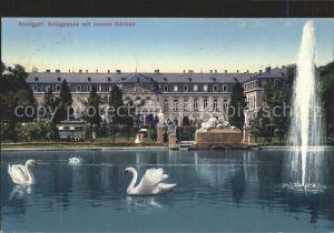 Stuttgart Anlagensee mit neuem Schloss Schwan Fontaene Skulptur Briefmarke Hoftheater Kat. Stuttgart