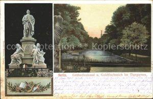 Tiergarten Berlin Goethedenkmal und Goldfischteich / Berlin /Berlin Stadtkreis