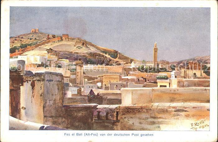 Fes Bali Alt Fes v.d. deutschen Post Kuenstlerkarte 6 B. Richter Kat. Marokko