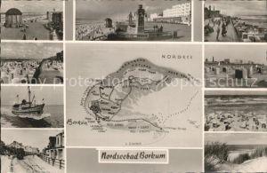 Borkum Nordseebad Promenade Pavillon Strand Schiff Duenen Landkarte Insel