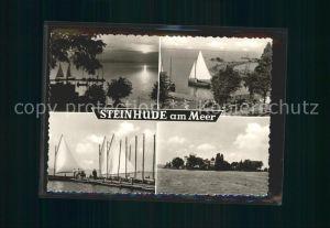 Steinhuder Meer Abendstimmung Segelboote Anlegesteg Insel Wilhelmstein Kat. Wunstorf