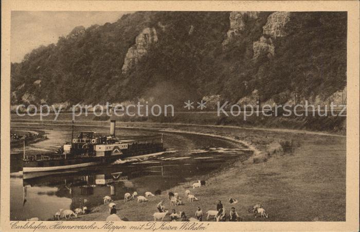 Carlshafen Hannoversche Klippen mit Dampfer Kaiser Wilhelm Kat. Bad Karlshafen