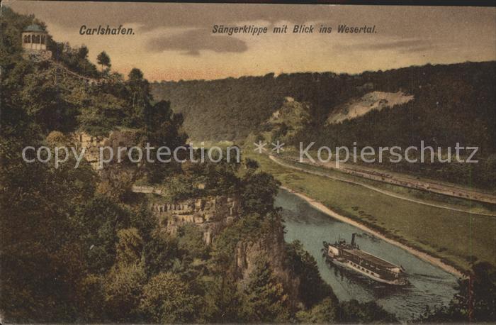 Carlshafen Saengerklippe mit Blick ins Wesertal Kat. Bad Karlshafen