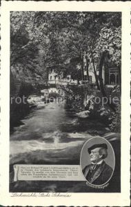 Lochmuehle Saechsische Schweiz mit Richard Wagner Denkmal Liebetaler Grund / Lohmen Sachsen /Saechsische Schweiz-Osterzgebirge LKR