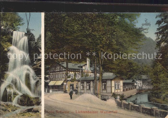 Lichtenhain Sebnitz Wasserfall Gasthaus  Kat. Sebnitz