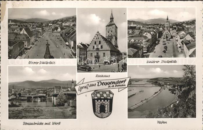 Deggendorf Donau Oberer und Unterer Stadtplatz Rathaus Donaubruecke Werft Hafen Kat. Deggendorf