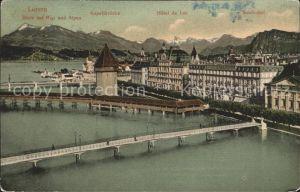 Luzern LU Kapellbruecke Hotel du Lac Seidenhof Vierwaldstaettersee Rigi Alpen Kat. Luzern
