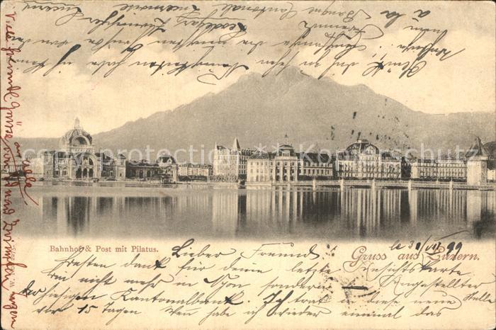 Luzern LU Bahnhof Post Pilatus Ansicht vom Vierwaldstaettersee aus Kat. Luzern