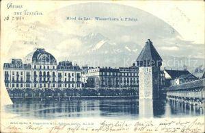 Luzern LU Hotel du Lac Wasserturm Kapellbruecke Wahrzeichen Pilatus Kat. Luzern