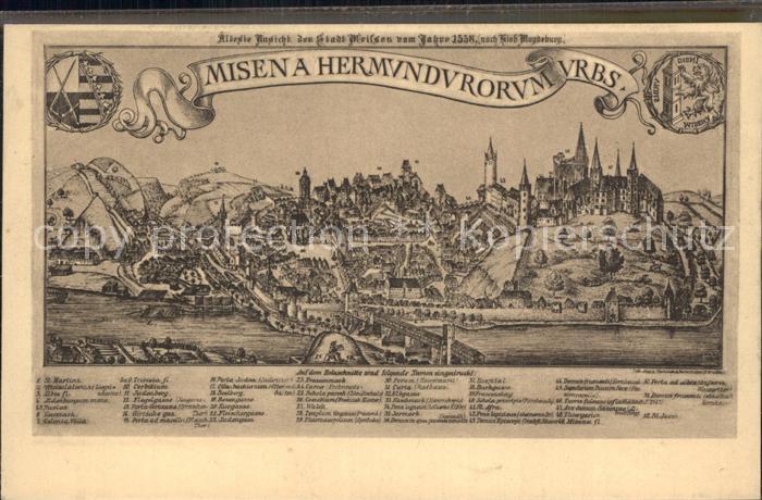 Alt Meissen Elbe aelteste Ansicht der Stadt Kat. Meissen