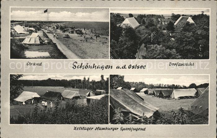 Schoenhagen Brodersby Stran Dorfansicht Zeltlager