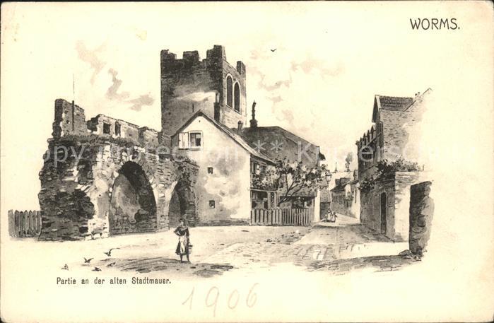 Worms Rhein An der alten Stadtmauer