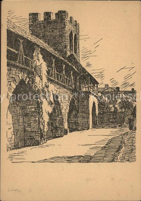 Worms Rhein An der Stadtmauer Zeichnung