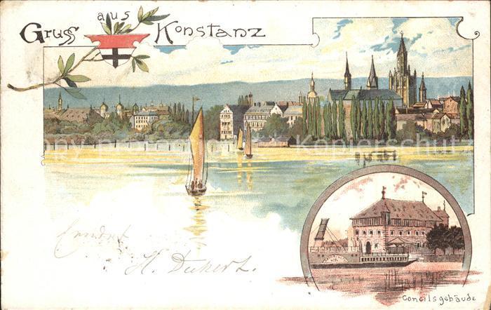 Konstanz Bodensee mit Concilsgebaeude Kat. Konstanz