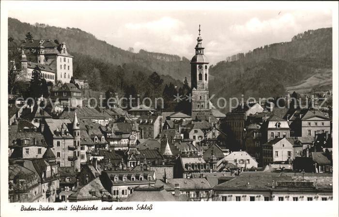 Baden Baden mit Stiftskirche und neuem Schloss Kat. Baden Baden