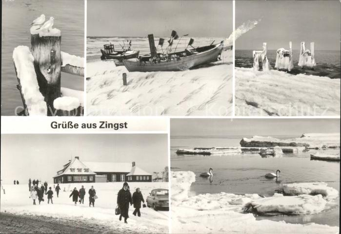 Zingst Ostseebad Strand in Schnee und Eis / Zingst Darss /Nordvorpommern LKR