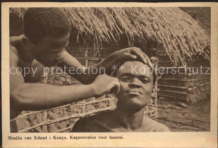Afrika Africa Afrique Volksleben Typen Missien van Scheut Kongo Kapperssalon Friseur