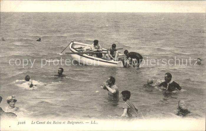 Le Canot A la plage Baigneurs