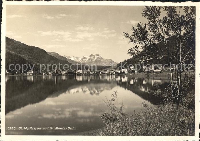 St Moritz GR St Moritzersee und St Moritz Bad Alpenpanorama Kat. St Moritz